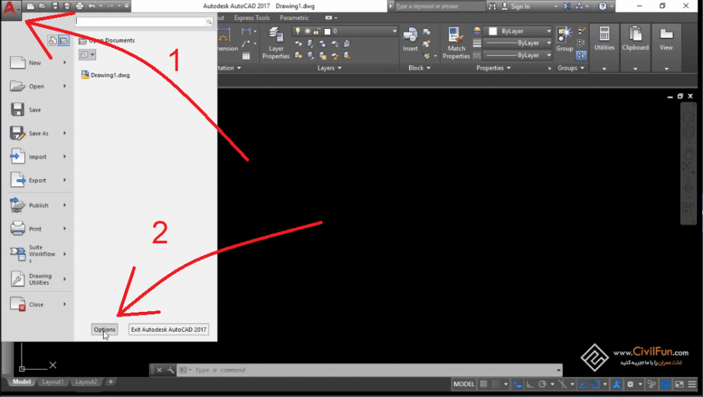 Options in AutoCAD